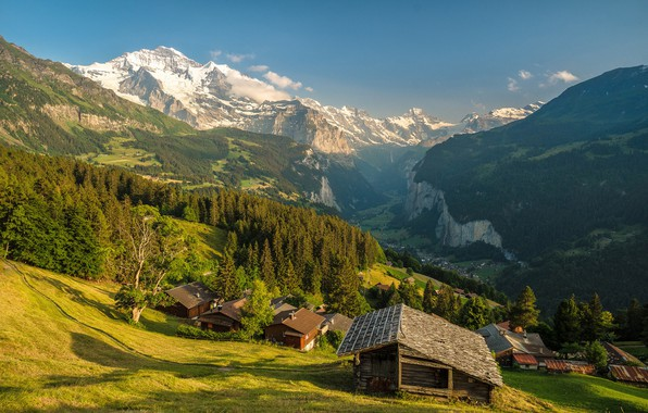 Picture forest, the sky, the sun, trees, mountains, rocks, Switzerland, valley, slope, panorama, houses, gorge, the …