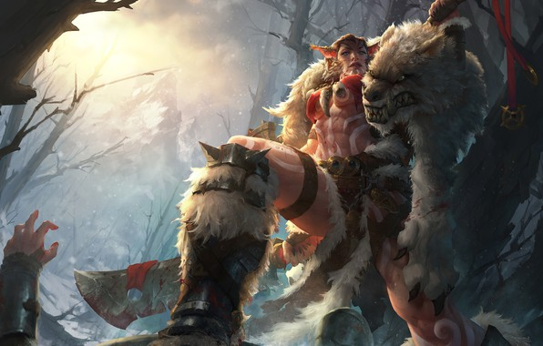 Picture forest, fantasy, art, skin, cloak, hunter, Beastmaster, TONG YAN