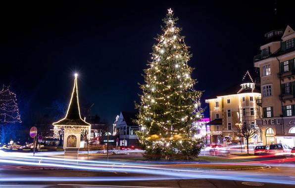 Picture winter, night, street, tree, Austria, New year, garland