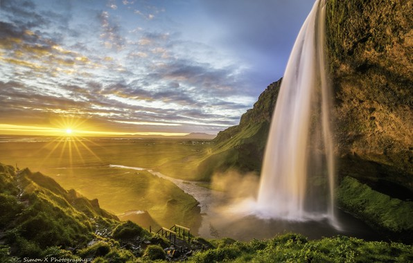 Picture the sky, the sun, field, waterfall, meadow, Iceland, Seljalandsfoss