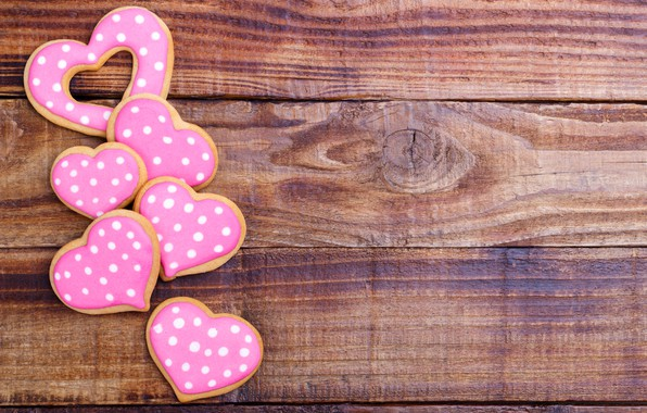 Picture cookies, hearts, wood