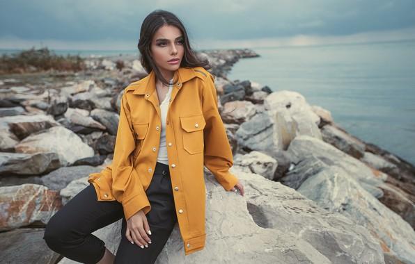 Picture sea, look, girl, pose, stones, photo, coast, model, jacket, beautiful, Pagani Ali