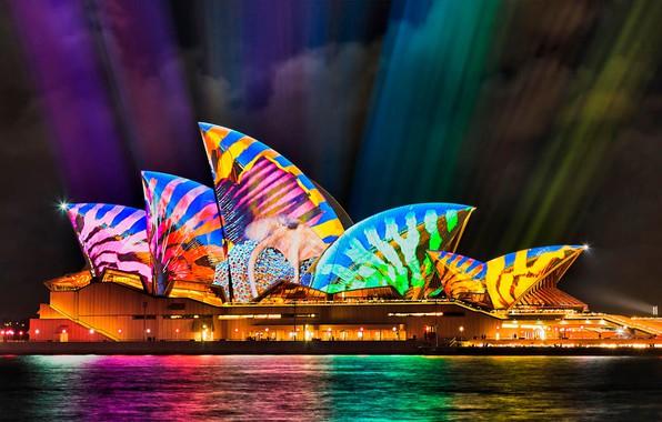 Picture Australia, Sydney, light show, Opera house