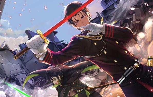 Picture sword, guy, Owari no Seraph, the last Seraphim, Yuichiro Hakua, Guren