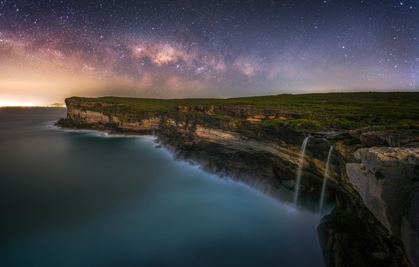 Picture waterfall, the evening, the ends of the earth