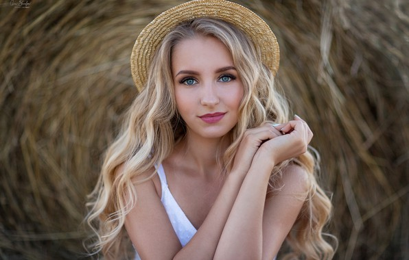 Picture girl, hat, dress, blonde, hay, Anna Shuvalova, Christine Wild