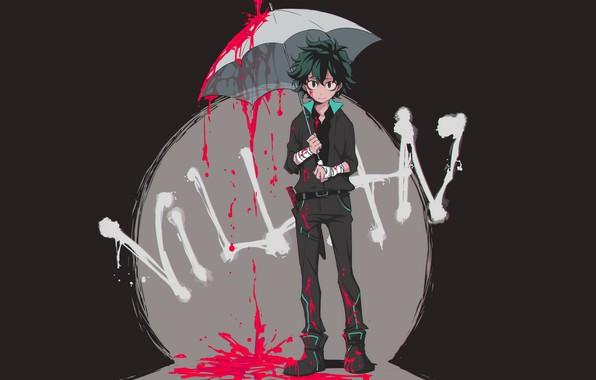 Picture look, blood, umbrella, guy, Boku no Hero Academy, Midori Isuku, My heroic academia, Izuku Midoriya