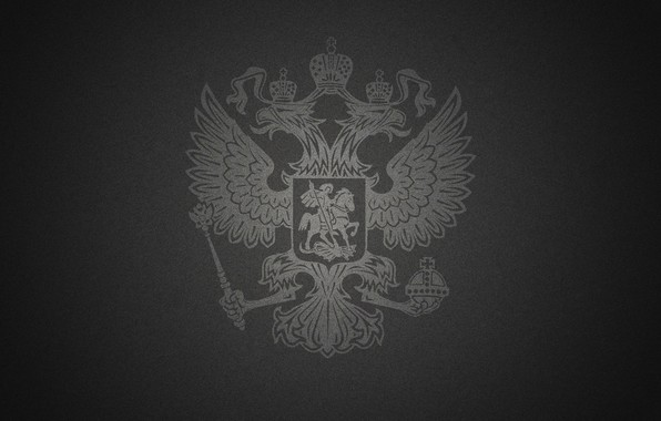 Picture black background, double-headed eagle, the coat of arms of Russia
