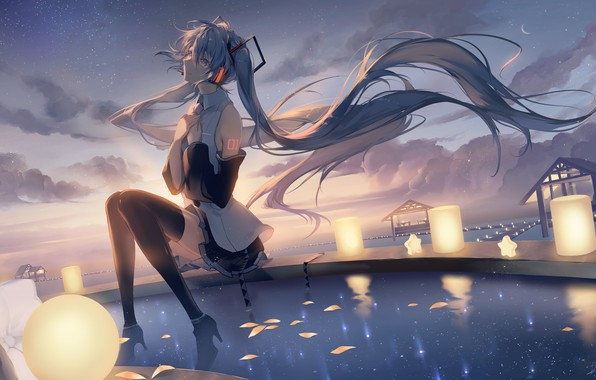 Picture water, clouds, the wind, lights, vocaloid, hatsune miku, blue hair, the reflection in the water, …
