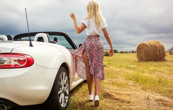 Picture field, machine, auto, summer, girl, pose, skirt, hay, convertible, Cyril Zakirov, Maria Romanova