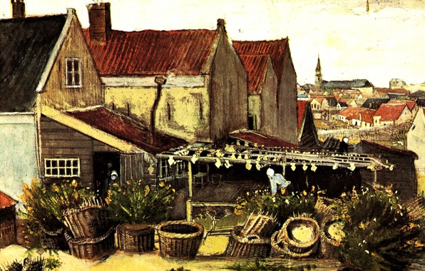 Picture houses, the bushes, basket, Vincent van Gogh, Fish-Drying Barn