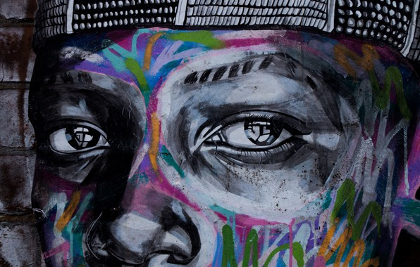 Picture graffiti, eyes, art, painting, street art