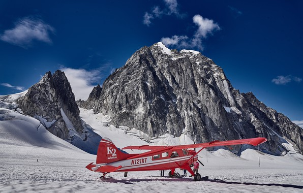 Picture mountains, the plane, photo, sneng, Alaskа
