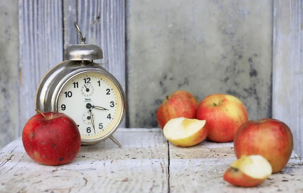 Picture apples, watch, alarm clock