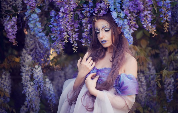 Picture girl, flowers, pose, style, woman, portrait, hands, makeup, garden, dress, image, lilac, makeup, lilac background, …