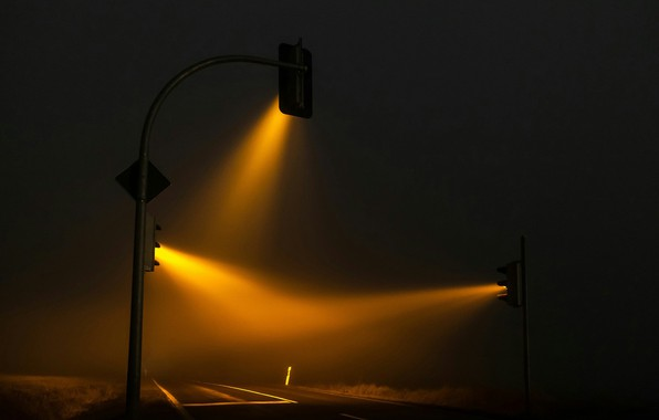 Picture Night, Road, Ray, Traffic Lights