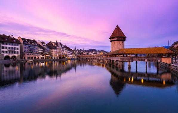 Picture sunset, bridge, reflection, river, building, home, Switzerland, Switzerland, Lucerne, Lucerne, Reuss River, Chapel bridge, Water …