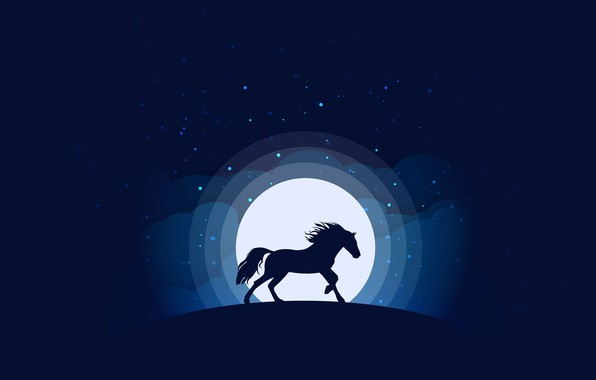 Picture moon, minimalism, clouds, stars, animal, blue background, digital art, artwork, silhouette, Horse, simple background