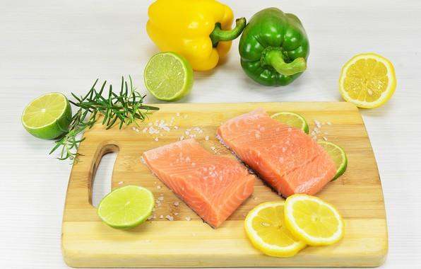 Picture fish, lime, pepper, lemons