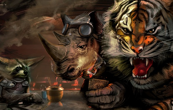 Picture The game, Tiger, Animals, Art, Raccoon, Conspiracy, Rhino, Characters, Animals, Roar, Csaba Kémeri, by Csaba …