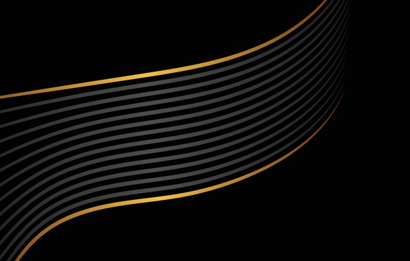Wallpaper line, abstraction, gold, geometry, black background, Abstract, background, geometric