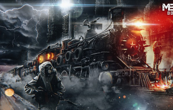 Picture road, night, weapons, train, gas mask, mask, ak47, the ourselves, stalkers, Metro Exodus, Pavel bondarenko