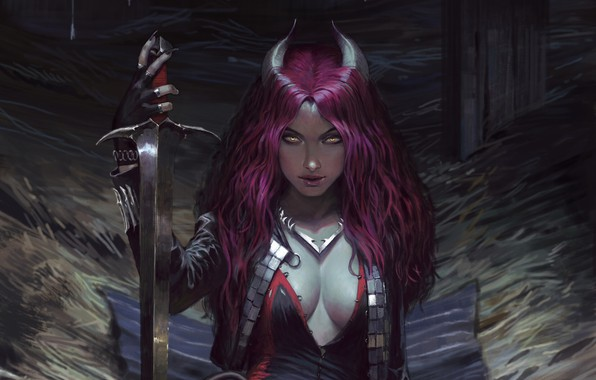 Picture look, girl, weapons, fantasy, art, demoness, art