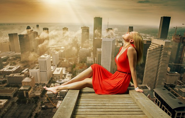 Picture roof, chest, summer, girl, clouds, light, the city, pose, heat, mood, ideal, stay, relax, feet, …