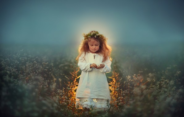 Picture field, glow, meadow, girl, wreath, Любовь Пятовская