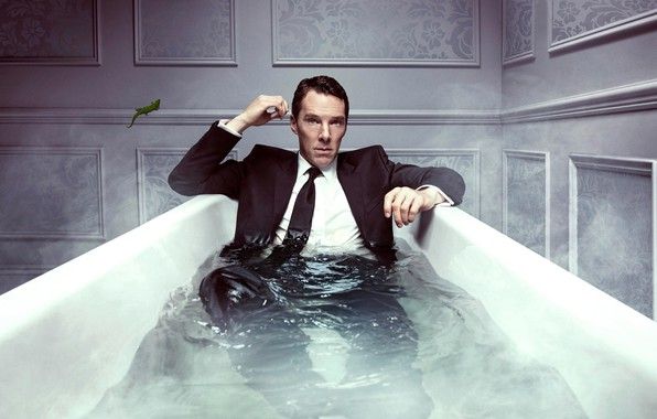 Picture wall, lizard, costume, tie, bath, the series, shirt, jacket, sitting, drama, in the water, Benedict …