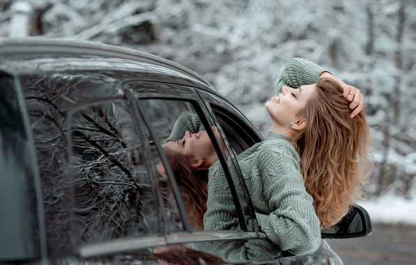 Picture machine, auto, girl, face, pose, mood, hair, sweater, closed eyes, Виктория Носачёва