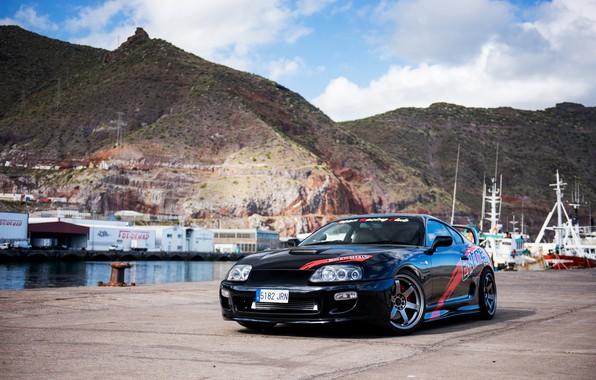 Picture Toyota, Black, Supra, Pier