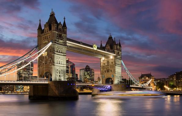 Picture lights, river, England, London, Tower bridge