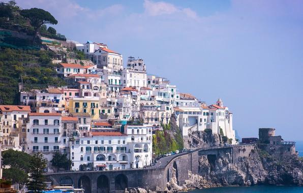 Picture city, house, road, sea, landscape, Italy, Campania, Amalfi, coast, nature, rocks, building, cityscape, church, cliff