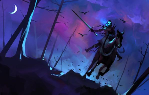 Picture Horse, Figure, Warrior, Sword, Death, Art, Concept Art, Characters, Creatures, Dominik Mayer, by Dominik Mayer, …