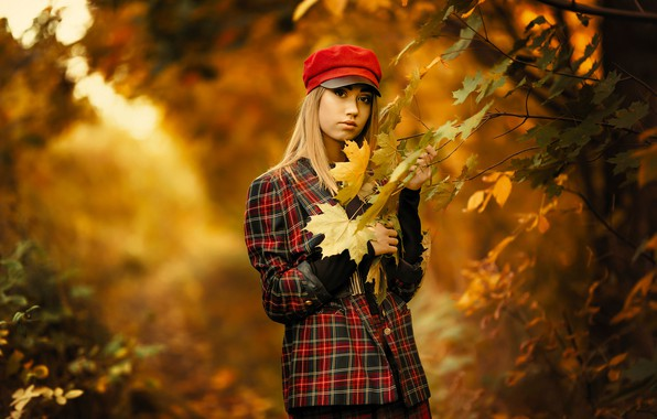 Picture autumn, look, leaves, trees, branches, nature, pose, Park, model, portrait, makeup, jacket, hairstyle, blonde, cap, …