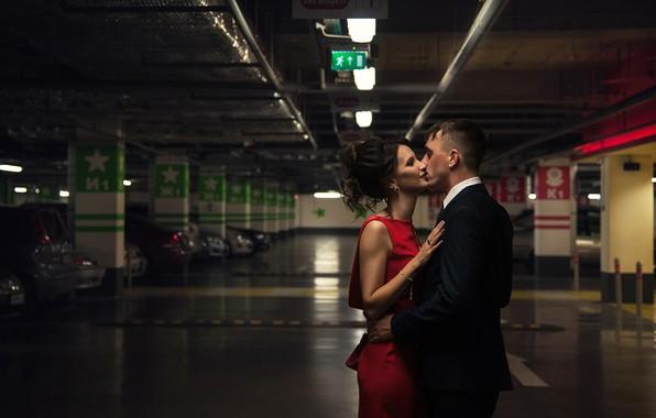 Picture girl, passion, kiss, Parking, male, lovers, Vasilisa Perekhodova