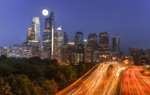 Picture night, lights, Philadelphia, skyline, Pennsylvania, Philadelphia, moonlight traffic