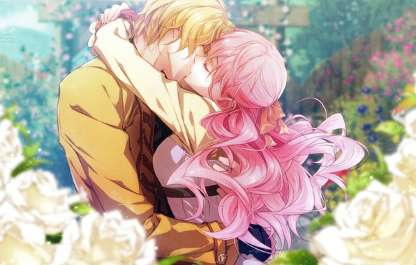 Picture romance, kiss, hugs, pink hair, wand of fortune, lulu, visual novel, in the garden, wand …