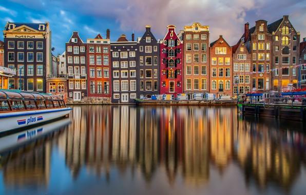 Picture reflection, building, home, Amsterdam, channel, Netherlands, Amsterdam, ship, Netherlands, Damrak, Damrak