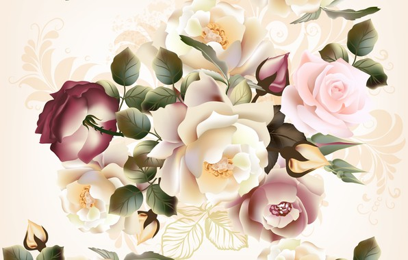 Picture flowers, flowers, pattern, roses, beige background, seamless