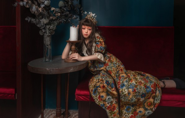 Picture girl, pose, style, candle, crown, makeup, dress, Asian, table