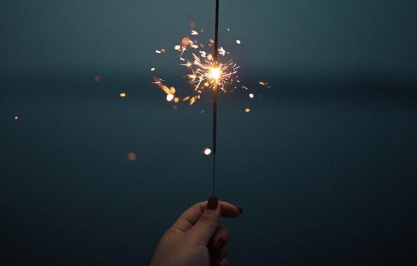 Picture hand, sparks, Sparkler