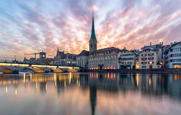 Picture city, lights, river, sky, Switzerland, bridge, sunset, water, dusk, reflection, buildings, architecture, chapel, Zurich, church, …
