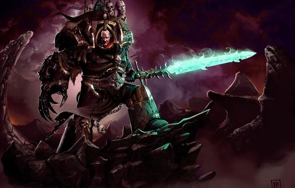 Picture chaos, Warhammer, Warhammer 40 000, chaos champion, a traitor, traitor, Black Legion, demon sword, chaos …