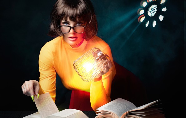 Picture look, girl, books, lamp, glasses, manicure