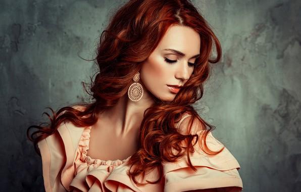 Picture girl, pose, hair, portrait, dress, red, beautiful, curls, Liliya Nazarova