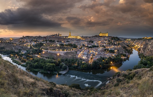 Picture lights, river, castle, home, the evening, panorama, Spain, Toledo