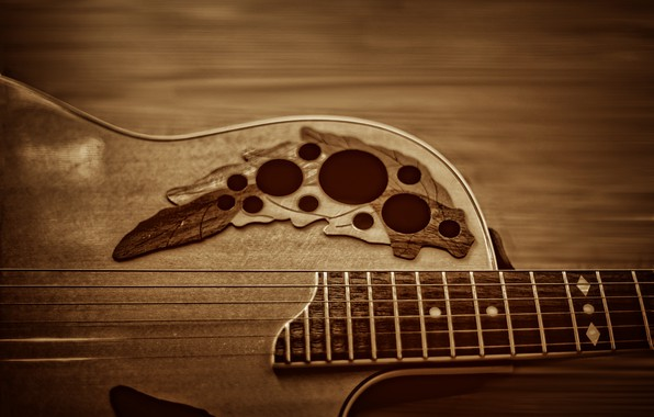 Picture music, wood, strings, musical instruments, guitars, Ovation, Kide & JC, Kide fotoart