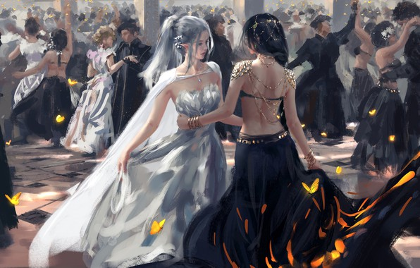 Picture fantasy, long hair, dress, girls, people, dance, elf, digital art, artwork, dancing, fantasy art, butterflies, …